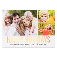 Carte photo personnalisée feuille d'or collage joyeuses fêtes