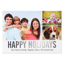 Carte photo personnalisée feuille argent collage joyeuses fêtes
