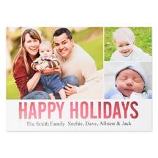 Carte photo personnalisée feuille rouge collage joyeuses fêtes