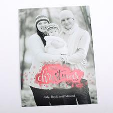Carte feuille rouge flocon de neige joyeux Noël