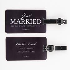 Étiquette de bagage personnalisée jeunes mariés, noir