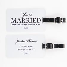 Étiquette de bagage personnalisée jeunes mariés, blanc