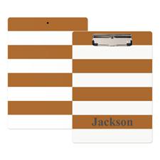 Porte-bloc personnalisé rayure brune blanche