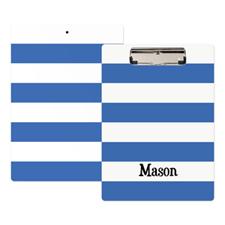 Porte-bloc personnalisé rayure bleue blanche