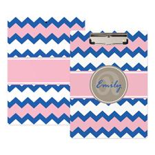 Porte-bloc personnalisé chevron bleu rose
