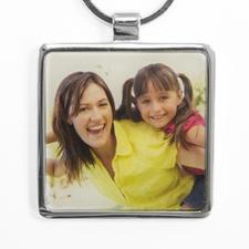 Porte-clé en métal carré photo personnalisée (large)