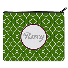 Green Quatrefoil Personalized 8X10 Cosmetic Bag