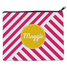 Red Stripe Personalized 8X10 Cosmetic Bag