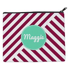Plum Stripe Personalized 8X10 Cosmetic Bag