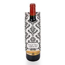 Étiquette de vin personnalisée damas noir, ensemble de 6