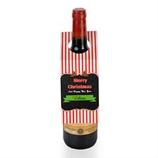 Étiquette de vin personnalisée rayures et joyeux Noël, ensemble de 6