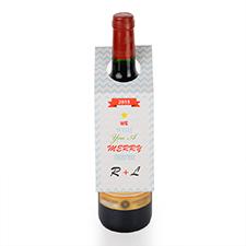 Étiquette de vin personnalisée chevron Joyeux Noël, ensemble de 6