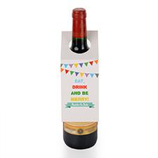 Étiquette de vin personnalisée manger, boire et être heureux, ensemble de 6