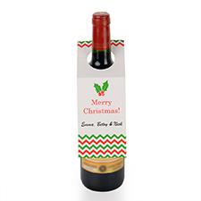 Étiquette de vin personnalisée fleur de Noël, ensemble de 6