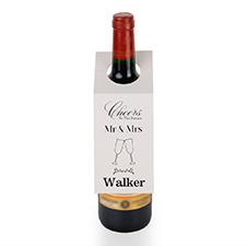 Étiquette de vin personnalisée M. et Mme, ensemble de 6