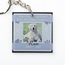 Porte-clé en acrylique carré personnalisé mémorial animal de compagnie gris