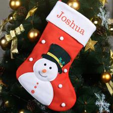 Bas de Noël bonhomme de neige nom brodé