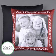 Large housse de coussin oreiller photo personnalisée cadre rouge 50,8 x 50,8 cm (sans insert)