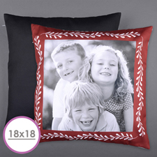 Large coussin photo personnalisé cadre rouge 45,72 x 45,72 cm (sans insert)