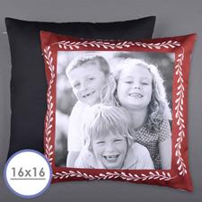 Housse de coussin oreiller photo personnalisée cadre rouge 40,64 x 40,64 cm (sans insert)