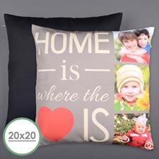 Large housse de coussin oreiller photo personnalisée la maison c'est l'amour 50,8 x 50,8 cm (sans insert)