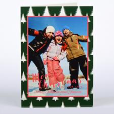 Carte de Noël photo personnalisée arbre givré, pliée 12,7 x 17,78 cm