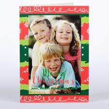 Carte photo de Noël personnalisée colorée, pliée 12,7 x 17,78 cm