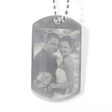 Pendentif plaque militaire photo de mariage gravée