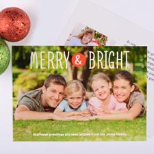 Carte de Noël photo personnalisée joyeux & lumineux
