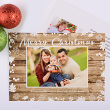 Carte photo de Noël personnalisée floral blanc