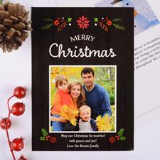 Carte photo de Noël personnalisée florale