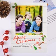 Carte de Noël photo personnalisée floral rustique