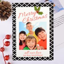 Carte photo de Noël personnalisée motif géométrique