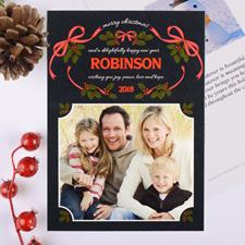 Carte de Noël photo personnalisée couronne d'amour