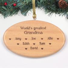 Ornement en bois gravé personnalisé meilleure mamie du monde