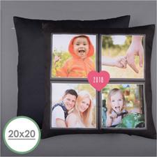 Oreiller photo personnalisé quatre collage et coeur 50,8 x 50,8 cm coussin (sans insert)