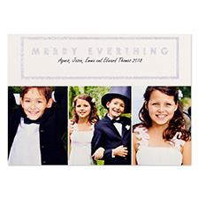 Carte de Noël photo personnalisée joyeux blanc paillettes argentées 12,7 x 17,78 cm