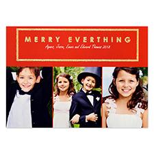 Carte de Noël photo personnalisée paillettes dorées tout joyeux 12,7 x 17,78 cm
