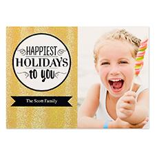 Carte de Noël photo personnalisée paillettes dorées fêtes les plus heureuses 12,7 x 17,78 cm