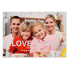 Carte de Noël photo personnalisée paillettes argentées amour & joie 12,7 x 17,78 cm
