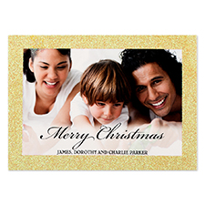Carte de Noël photo personnalisée joyeux Noël paillettes dorées 12,7 x 17,78 cm