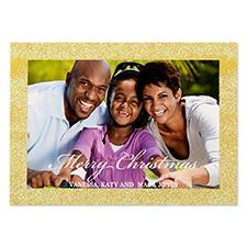 Carte de Noël photo personnalisée paillettes bordure doré 12,7 x 17,78 cm