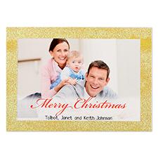 Carte de Noël photo personnalisée bordure dorée paillettes 12,7 x 17,78 cm
