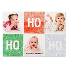 Carte de Noël photo  personnalisée paillettes Ho Ho Ho 12,7 x 17,78 cm