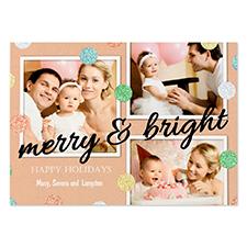 Carte photo personnalisée pois paillettes noir joyeux & lumineux 12,7 x 17,78 cm
