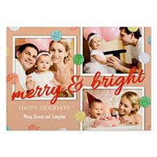 Carte photo personnalisée pois paillettes rouge joyeux & lumineux 12,7 x 17,78 cm