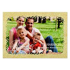 Carte de Noël photo personnalisée paillettes dorées réjouissance 12,7 x 17,78 cm