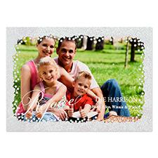 Carte de Noël photo personnalisée paillettes argentées réjouissance 12,7 x 17,78 cm