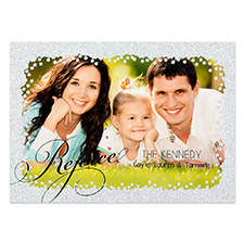 Carte de Noël photo personnalisée rejouissance noir paillette argentée 12,7 x 17,78 cm