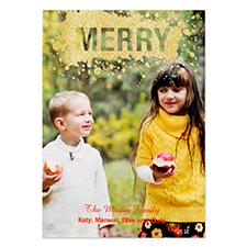 Carte de Noël photo personnalisée joyeux paillettes dorées 12,7 x 17,78 cm